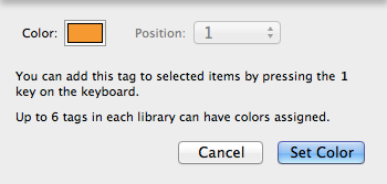 Assigning a tag color.