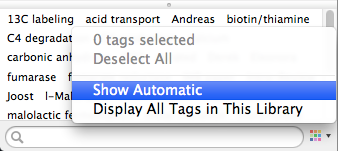 "Unchecking the ""Show Automatic"" option hides automatic tags."
